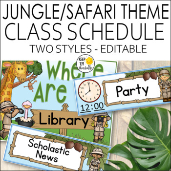 Jungle Theme Schedule Cards - Editable! Jungle Themed Classroom Decor