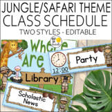Jungle Theme Schedule Cards - Editable! Jungle Themed Clas