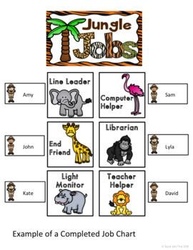 Jungle Safari Theme: Student Job Chart (Editable)