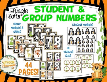 Jungle Safari Theme Student and Group Numbers Kit