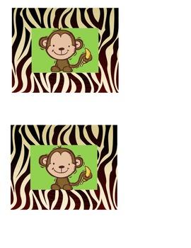 Jungle Safari Theme Tags For Classroom or Library Book Boxes