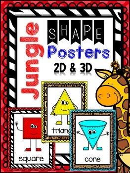 Jungle - Animal Print -Safari Themed 2D & 3D Shape Posters
