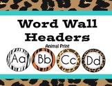 Jungle/ Safari Themed Animal Print Word Wall Headers