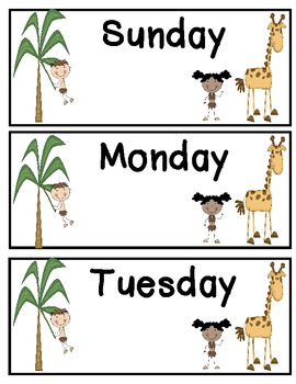 Jungle Safari Themed Days of the Week