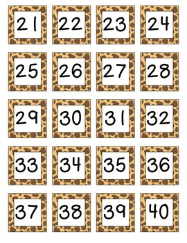 Jungle Safari Themed Number Chart Numbers 1-100