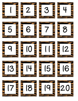 Jungle Safari Themed Number Chart Numbers 1-100