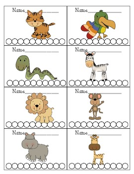 Jungle Safari Themed Punch Cards