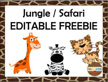 FREEBIE - Jungle / Safari - Welcome, Tables, Groups, Nametags