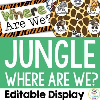 "Jungle Safari Theme:  ""Where Are We?"" Display (Editable)"