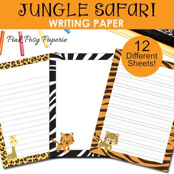 Jungle Safari Writing Paper - 3 Styles - ( 7 1/2 x 10 )