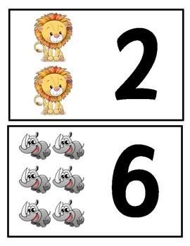 Jungle/Safari/Zoo Animal Number Matching Printable