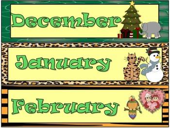 Jungle / Safari calendar set
