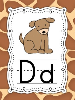 Jungle Safari themed Alphabet ABC Posters