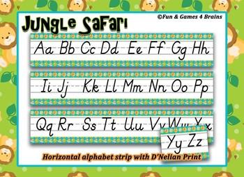 Jungle Safari themed D'Nealian Print Alphabet Strip