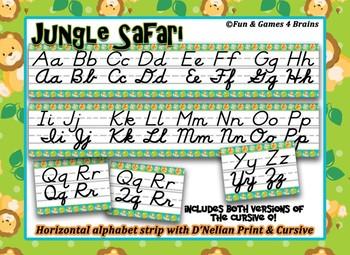 Jungle Safari themed D'Nealian print and cursive Alphabet Strip