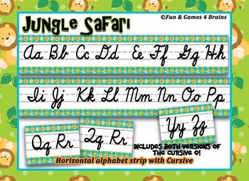 photograph relating to Alphabet Strip Printable named Jungle Safari themed cursive Alphabet Strip