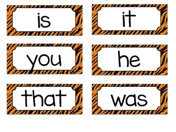 Jungle Sight Word Cards - 1st 100 Fry Words