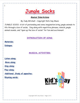 Jungle Socks by Kid's Day Music - mp3 and lesson plans