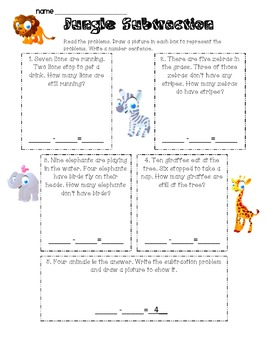Jungle Subtraction Word Problems (Version 2) 1.OA.1 & 1.OA.4