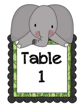Jungle Table Numbers and Welcome - Back to School