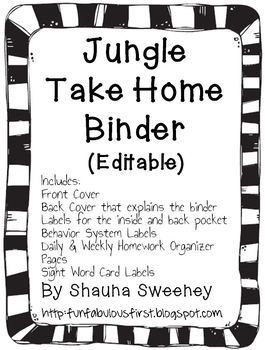 Jungle Take Home Binder (Editable)