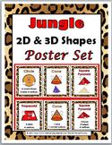 Jungle Theme Classroom Decor 2D Shapes & 3D Shapes Posters