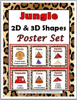2D Shapes & 3D Shapes Posters -Jungle Theme-Geometry Vocab