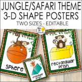 Jungle Theme 3D Shape Posters, Jungle Themed Classroom Decor