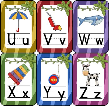 Jungle Theme Alphabet Chart: Color Zebra Print