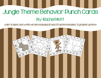 Jungle Theme Behavior Punch Cards