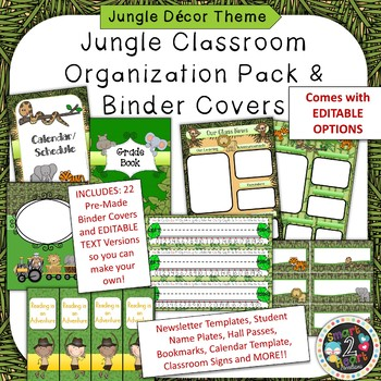Jungle Theme Binder Covers and Classroom Organization Pack