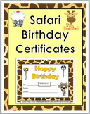 Jungle Theme Classroom Birthday Certificates
