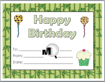Jungle Theme Classroom Birthday Certificates