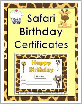 Jungle Theme Birthday Certificates