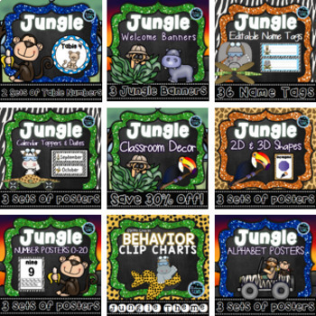 Jungle Theme Classroom Decor Bundle