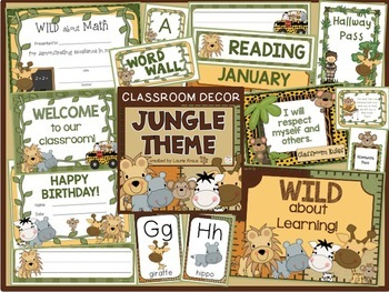 Jungle Theme Bundle - Decor, Binder Covers, Reading & Healthy Habits Posters