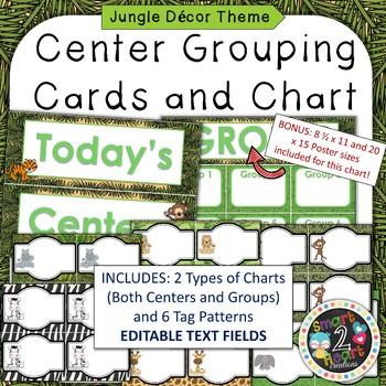Jungle Theme Center Grouping Cards and Chart