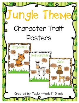 Jungle Theme Character Trait Posters - Respectful, Responsible, Safe