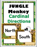 Jungle Theme Classroom Decor Cardinal Directions with Monkey & Primary Font