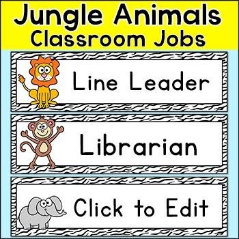 Jungle Animals Classroom Jobs