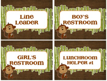 Wild About Learning - Jungle Theme Classroom Helper Cards