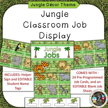 Jungle Theme Classroom Job Helper Display