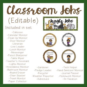 Jungle Theme Classroom Jobs (Editable)