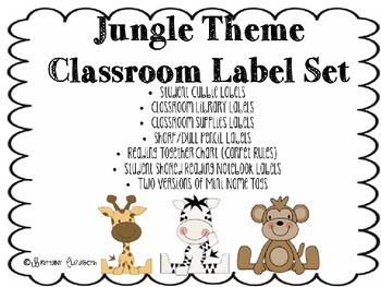 Jungle Theme Classroom Label Set