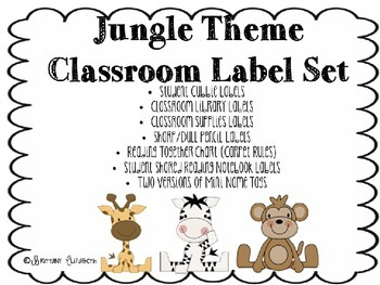 Jungle Theme Classroom Label Set