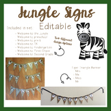 Jungle Theme Classroom Signs and Name Tags (Editable)