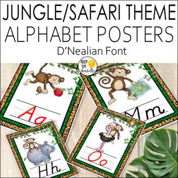 Jungle Theme D'Nealian Alphabet Posters, Jungle Theme Classroom Decor