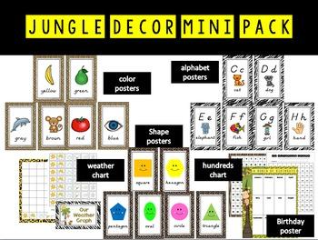 Jungle Theme Alphabet, Color, Shape Posters