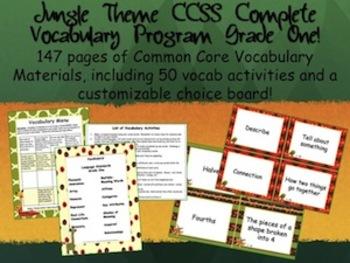 Jungle Theme Grade One CCSS Complete Vocabulary Program