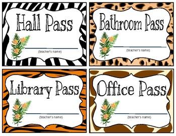 Jungle Theme Hall Passes